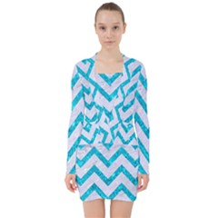 Chevron9 White Marble & Turquoise Marble (r) V Neck Bodycon Long Sleeve Dress by trendistuff