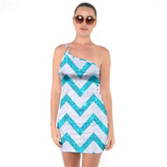 Chevron9 White Marble & Turquoise Marble (r) One Soulder Bodycon Dress by trendistuff