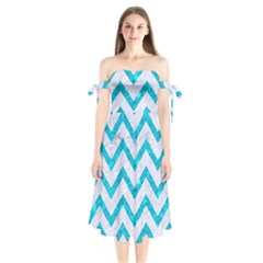 Chevron9 White Marble & Turquoise Marble (r) Shoulder Tie Bardot Midi Dress by trendistuff