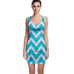 Chevron9 White Marble & Turquoise Marble Bodycon Dress by trendistuff