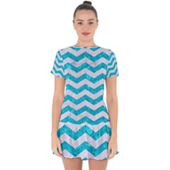Chevron3 White Marble & Turquoise Marble Drop Hem Mini Chiffon Dress by trendistuff