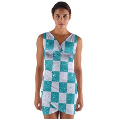 Square1 White Marble & Turquoise Glitter Wrap Front Bodycon Dress by trendistuff