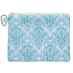 Damask1 White Marble & Turquoise Glitter (r) Canvas Cosmetic Bag (xxl) by trendistuff