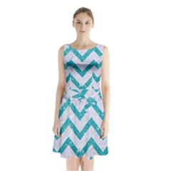 Chevron9 White Marble & Turquoise Glitter (r) Sleeveless Waist Tie Chiffon Dress by trendistuff