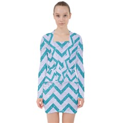 Chevron9 White Marble & Turquoise Glitter (r) V Neck Bodycon Long Sleeve Dress by trendistuff