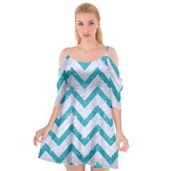 Chevron9 White Marble & Turquoise Glitter (r) Cutout Spaghetti Strap Chiffon Dress by trendistuff