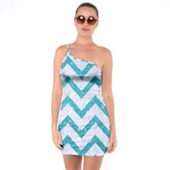 Chevron9 White Marble & Turquoise Glitter (r) One Soulder Bodycon Dress by trendistuff