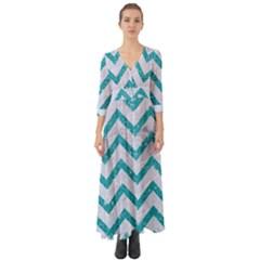 Chevron9 White Marble & Turquoise Glitter (r) Button Up Boho Maxi Dress by trendistuff