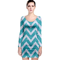 Chevron9 White Marble & Turquoise Glittere Glitter Long Sleeve Bodycon Dress by trendistuff