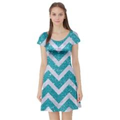 Chevron9 White Marble & Turquoise Glittere Glitter Short Sleeve Skater Dress by trendistuff