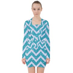 Chevron9 White Marble & Turquoise Glittere Glitter V Neck Bodycon Long Sleeve Dress by trendistuff