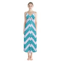 Chevron9 White Marble & Turquoise Glittere Glitter Button Up Chiffon Maxi Dress by trendistuff