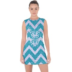 Chevron9 White Marble & Turquoise Glittere Glitter Lace Up Front Bodycon Dress by trendistuff