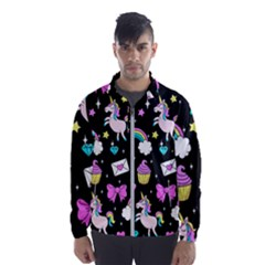 Cute Unicorn Pattern Wind Breaker (men) by Valentinaart