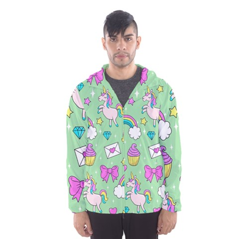 Cute Unicorn Pattern Hooded Wind Breaker (men)