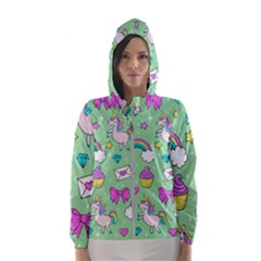 Cute Unicorn Pattern Hooded Wind Breaker (women) by Valentinaart