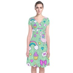 Cute Unicorn Pattern Short Sleeve Front Wrap Dress by Valentinaart