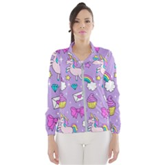 Cute Unicorn Pattern Wind Breaker (women) by Valentinaart