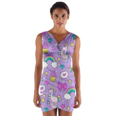 Cute Unicorn Pattern Wrap Front Bodycon Dress by Valentinaart