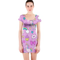 Cute Unicorn Pattern Short Sleeve Bodycon Dress by Valentinaart
