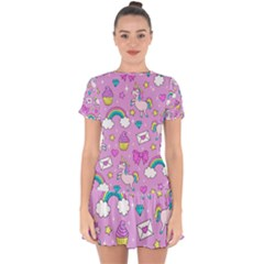 Cute Unicorn Pattern Drop Hem Mini Chiffon Dress by Valentinaart