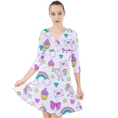 Cute Unicorn Pattern Quarter Sleeve Front Wrap Dress by Valentinaart