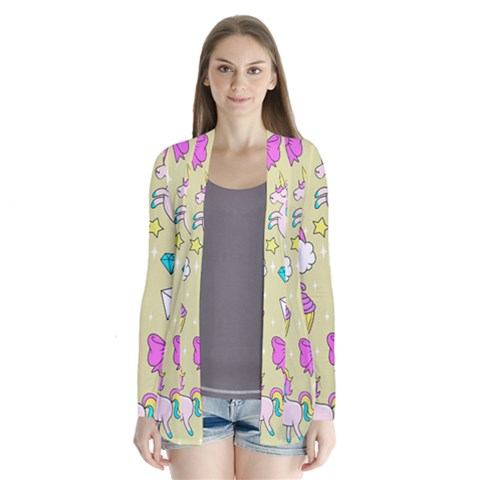 Cute Unicorn Pattern Drape Collar Cardigan