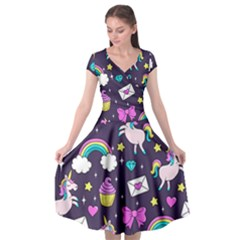 Cute Unicorn Pattern Cap Sleeve Wrap Front Dress by Valentinaart