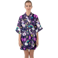 Cute Unicorn Pattern Quarter Sleeve Kimono Robe by Valentinaart
