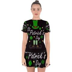 St Patricks Leprechaun Drop Hem Mini Chiffon Dress by Valentinaart