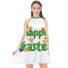 Happy Easter Halter Neckline Chiffon Dress  by Valentinaart