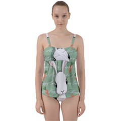 Easter Bunny  Twist Front Tankini Set by Valentinaart
