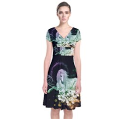 Wonderful Unicorn With Flowers Short Sleeve Front Wrap Dress by FantasyWorld7