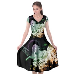 Wonderful Unicorn With Flowers Cap Sleeve Wrap Front Dress by FantasyWorld7