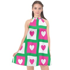 Pink Hearts Valentine Love Checks Halter Neckline Chiffon Dress