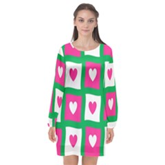 Pink Hearts Valentine Love Checks Long Sleeve Chiffon Shift Dress