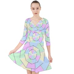 Color Wheel 3d Pastels Pale Pink Quarter Sleeve Front Wrap Dress