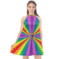 Rainbow Hearts 3d Depth Radiating Halter Neckline Chiffon Dress  by Nexatart