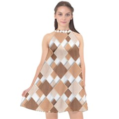 Fabric Texture Geometric Halter Neckline Chiffon Dress  by Nexatart