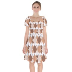 Fabric Texture Geometric Short Sleeve Bardot Dress by Nexatart