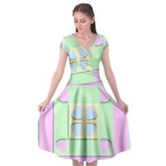 Hearts 3d Decoration Design Love Cap Sleeve Wrap Front Dress by Nexatart