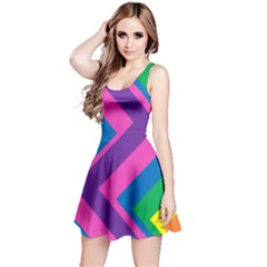 Geometric Rainbow Spectrum Colors Reversible Sleeveless Dress