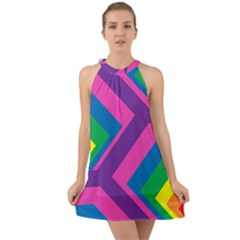 Geometric Rainbow Spectrum Colors Halter Tie Back Chiffon Dress by Nexatart
