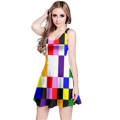 Rainbow Color Blocks Red Orange Reversible Sleeveless Dress