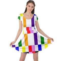 Rainbow Color Blocks Red Orange Cap Sleeve Dress by Nexatart