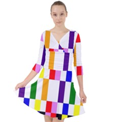 Rainbow Color Blocks Red Orange Quarter Sleeve Front Wrap Dress by Nexatart