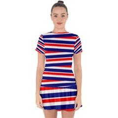 Red White Blue Patriotic Ribbons Drop Hem Mini Chiffon Dress by Nexatart