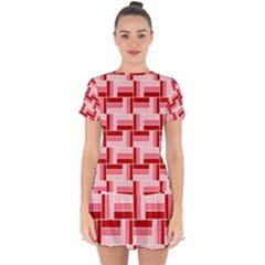 Pink Red Burgundy Pattern Stripes Drop Hem Mini Chiffon Dress