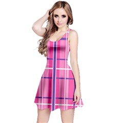 Gingham Hot Pink Navy White Reversible Sleeveless Dress
