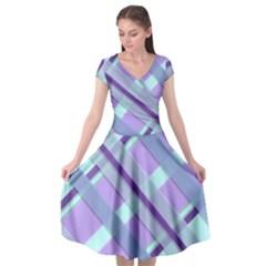 Diagonal Plaid Gingham Stripes Cap Sleeve Wrap Front Dress